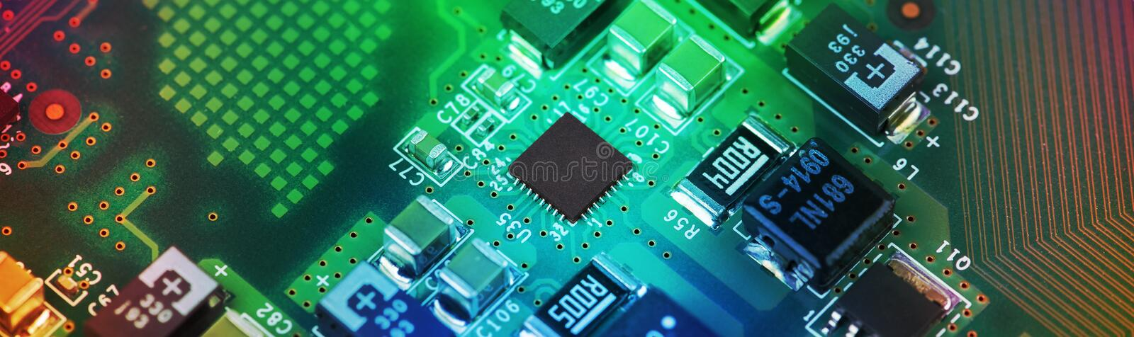High Tech Circuit Board close up, macro. concept of information technology. Printed circuit board with components. close up, macro. concept of information