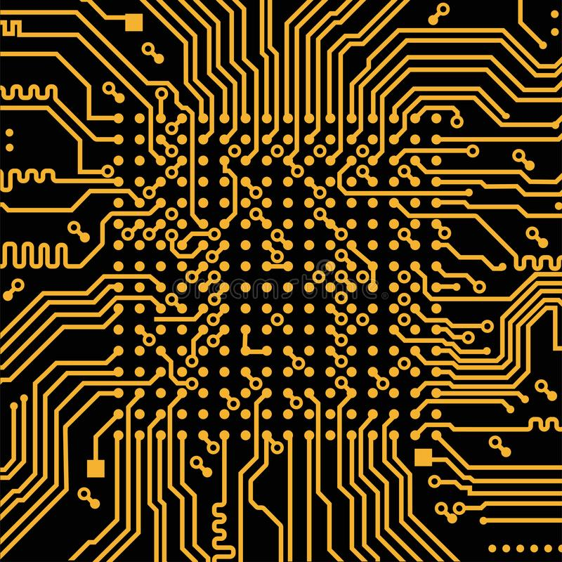 High tech electronic circuit board vector background. stock illustration