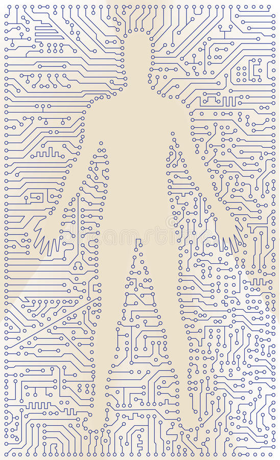 Download High Tech Circuit Board Man Silhouette. Vector Com Stock Vector - Image: 33878777