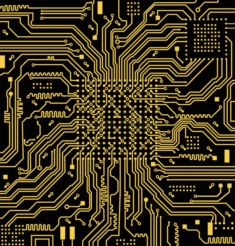 High tech electronic circuit board vector background royalty free illustration