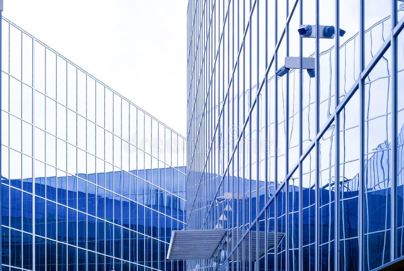 High-tech citysсape, fragment of glass and metal building facades. Perm, Russia - May 26, 2019: high-tech style citysсape, fragment of glass and metal royalty free stock images