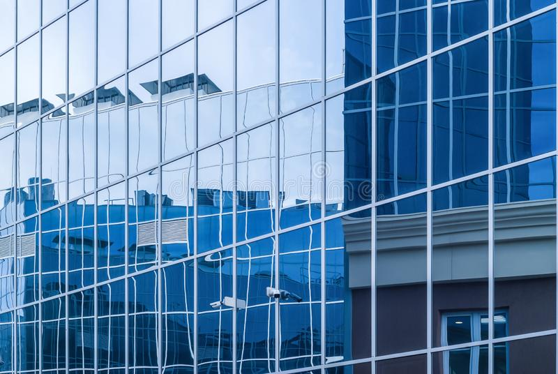 High-tech citysсape, fragment of glass and metal building facades. Perm, Russia - May 26, 2019: high-tech style citysсape, fragment of glass and metal stock photo
