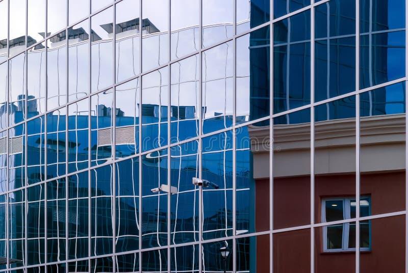 High-tech citysсape, fragment of glass and metal building facades. High-tech style citysсape, fragment of glass and metal building facades stock photos