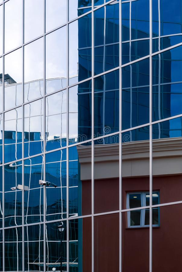 High-tech citysсape, fragment of glass and metal building facades. High-tech style citysсape, fragment of glass and metal building facades royalty free stock images