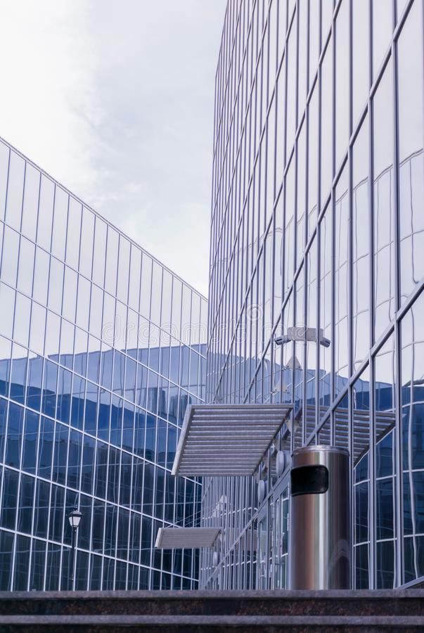 High-tech cityscape, fragment of glass and metal building facades. High-tech style cityscape, fragment of glass and metal building facades stock photos