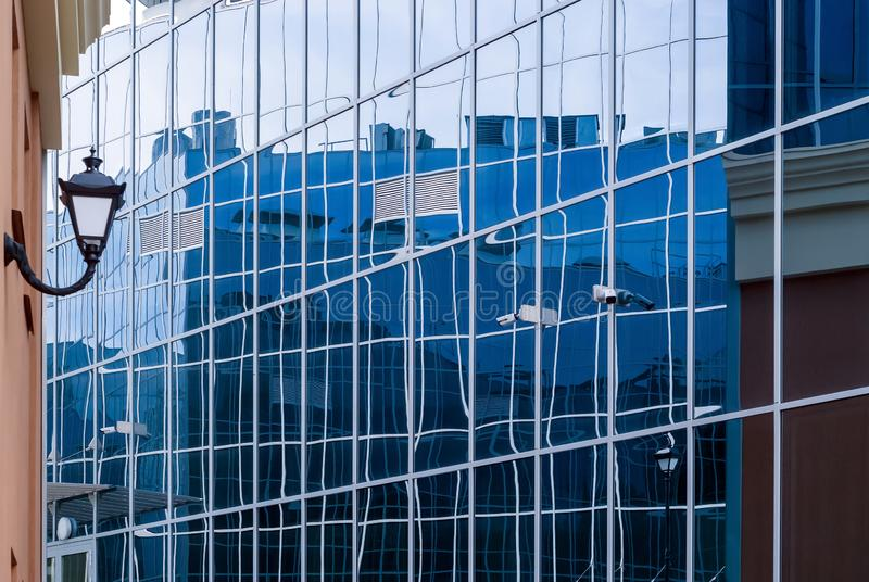 High-tech cityscape, fragment of glass and metal building facades. High-tech style cityscape, fragment of glass and metal building facades royalty free stock photo