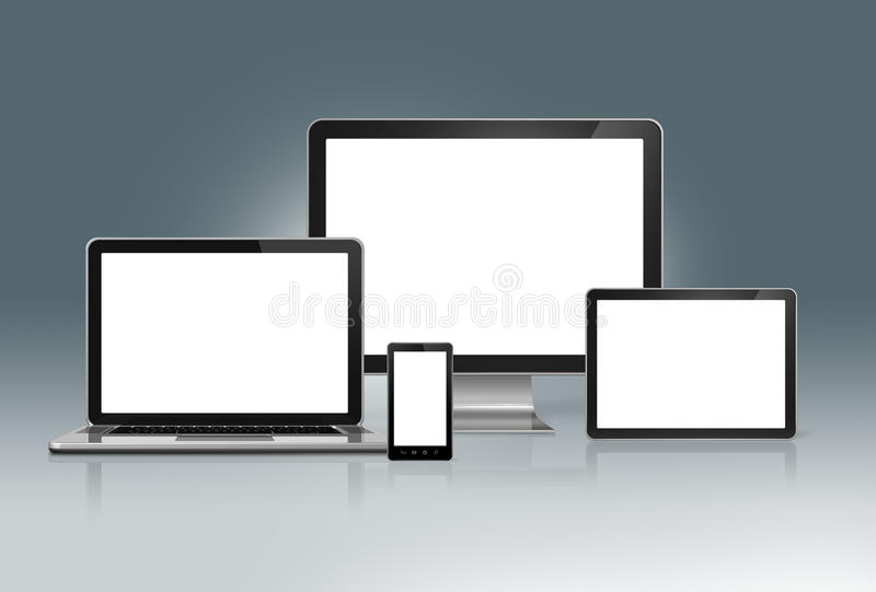 High Tech Computer Set on a futuristic grey background vector illustration