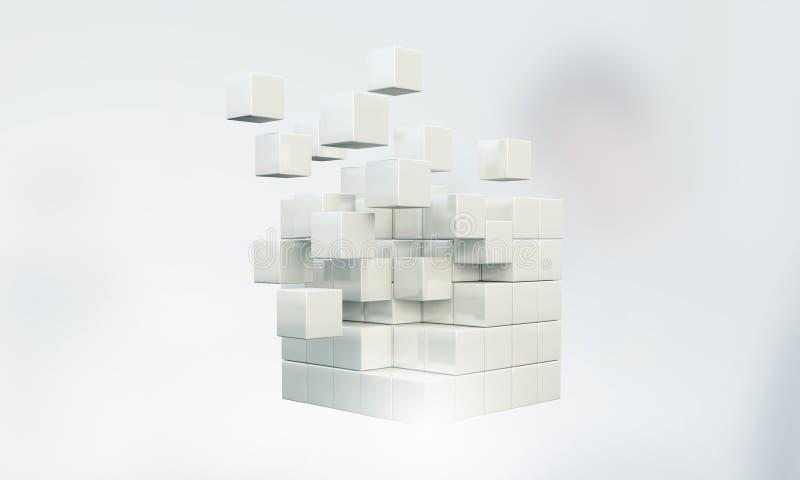 High tech cube figure . Mixed media stock photos
