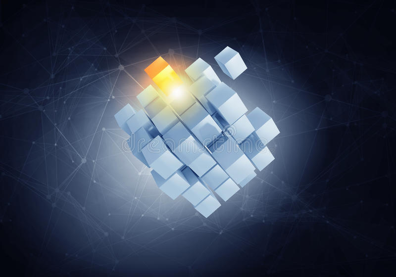 High tech cube figure . Mixed media royalty free stock images