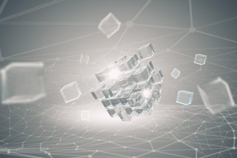 High tech cube figure . Mixed media royalty free stock photos
