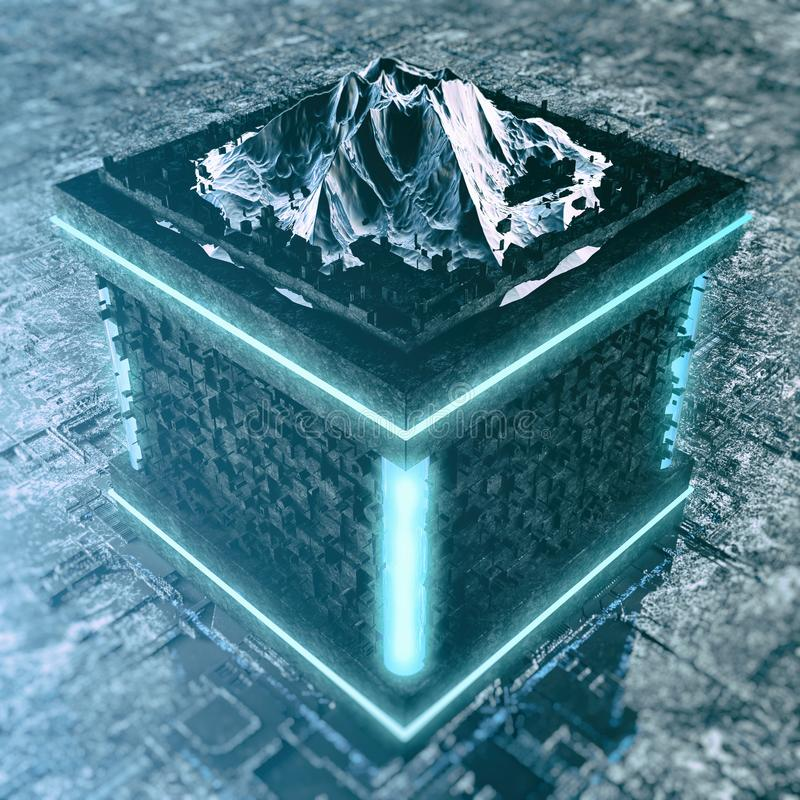 Abstract High Tech Cube With Mountain Background vector illustration