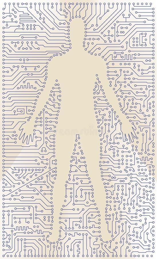 High-tech de mensensilhouet van de kringsraad. Vectorcom vector illustratie