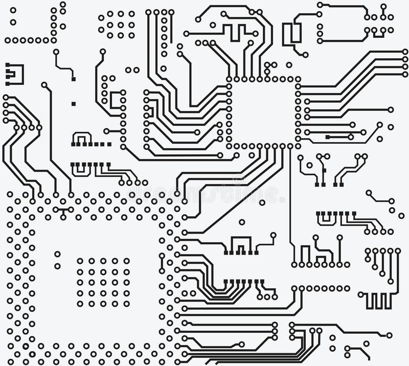 High tech electronic circuit board vector background stock illustration