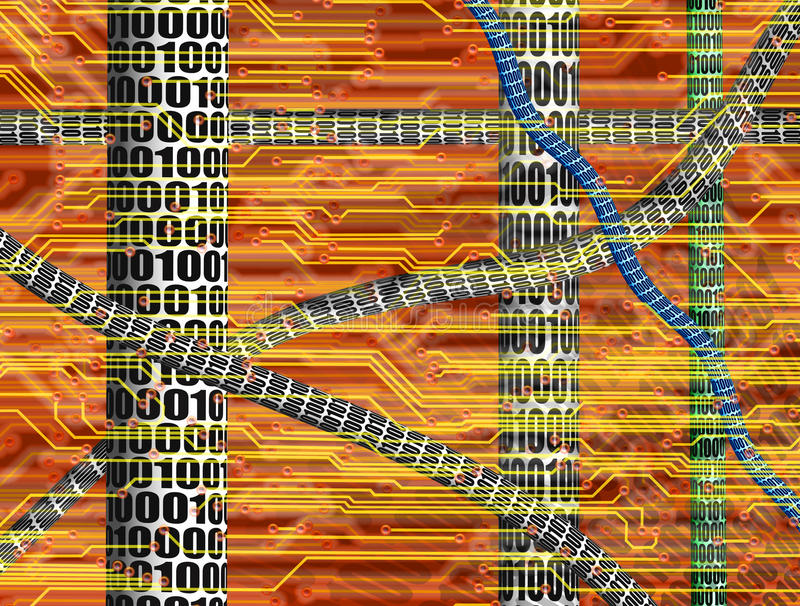 CYBER WORLD HIGH TECH COMPUTER CIRCUIT BOARD ELECTRONIC ENVIRONMENT INDUSTRY TECHNOLOGY BACKGROUND royalty free illustration
