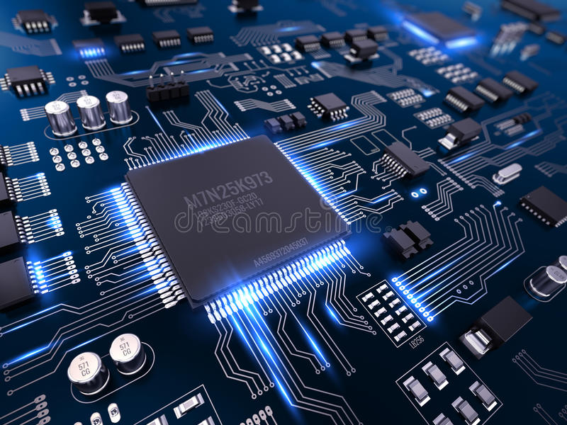High tech electronic PCB Printed circuit board with processor and microchips. 3d illustration vector illustration