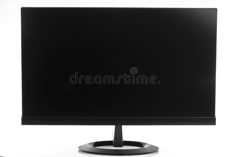 High-tech flatscreen computer display in landscape orientation isolated.  royalty free stock photos