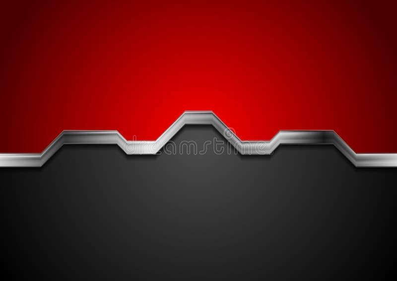 High tech gör sammandrag röd och svart bakgrund med metallsilverbandet royaltyfri illustrationer