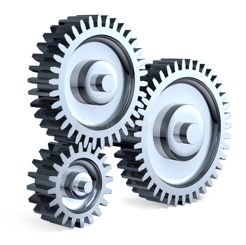 High Tech Gears. High-Resolution 3d concept art showing the meeting point of two chrome gears royalty free illustration