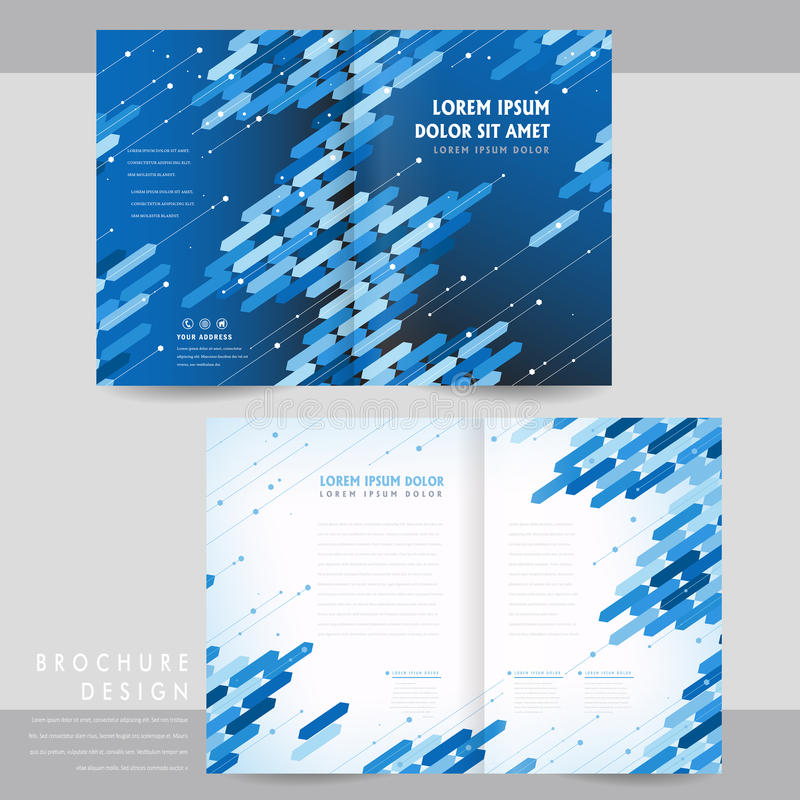HighTech HalfFold Brochure Template Design Stock Vector
