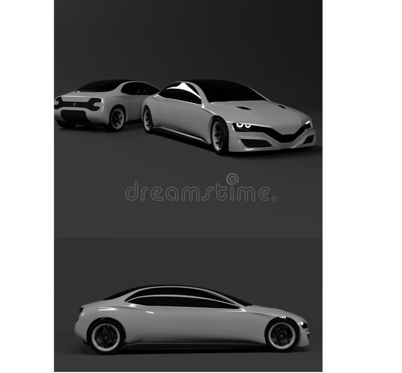 High-tech koolstof grijze auto voor ondernemers en autoenthousiast royalty-vrije illustratie