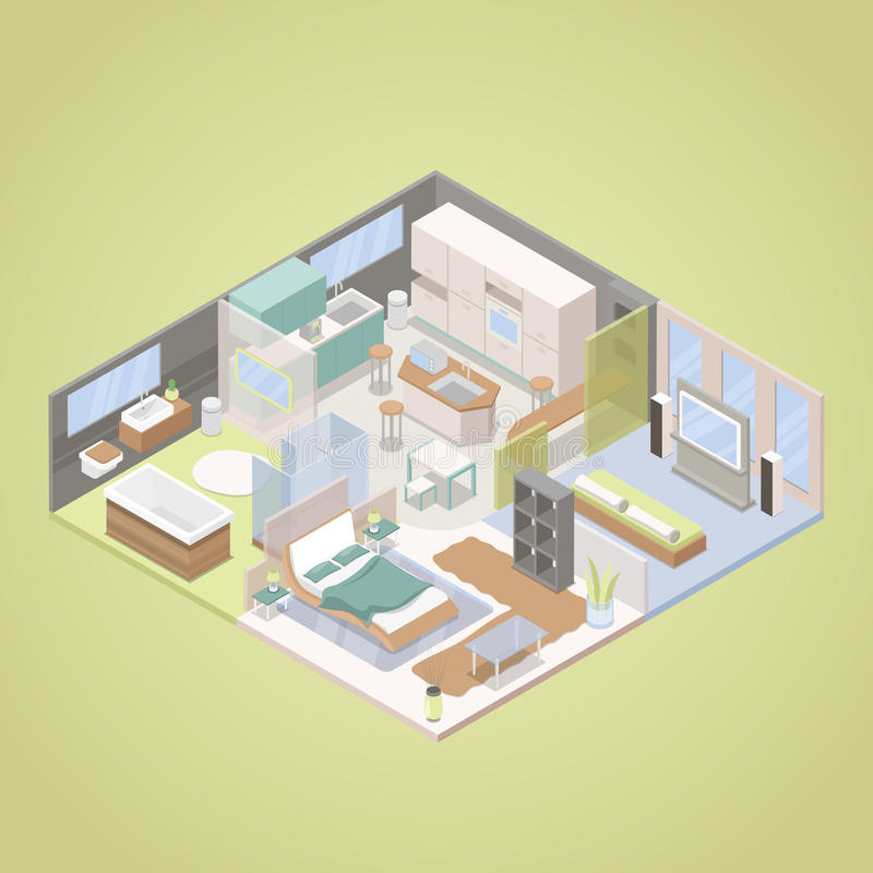 High tech modern apartment interior design with living for Apartment design vector