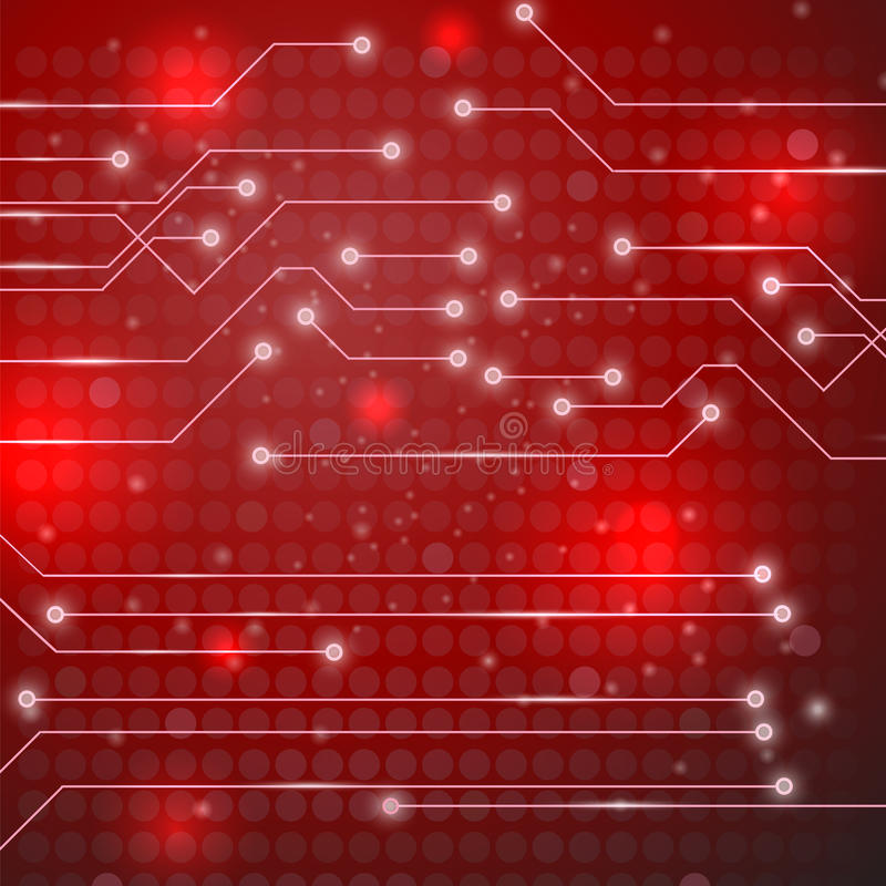 High Tech Printed Circuit Board. Modern Computer Technology Red Background. Circuit Board Pattern. High Tech Printed Circuit Board vector illustration