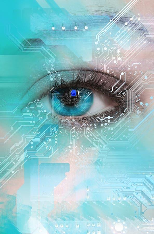 High-tech technologieachtergrond stock afbeeldingen