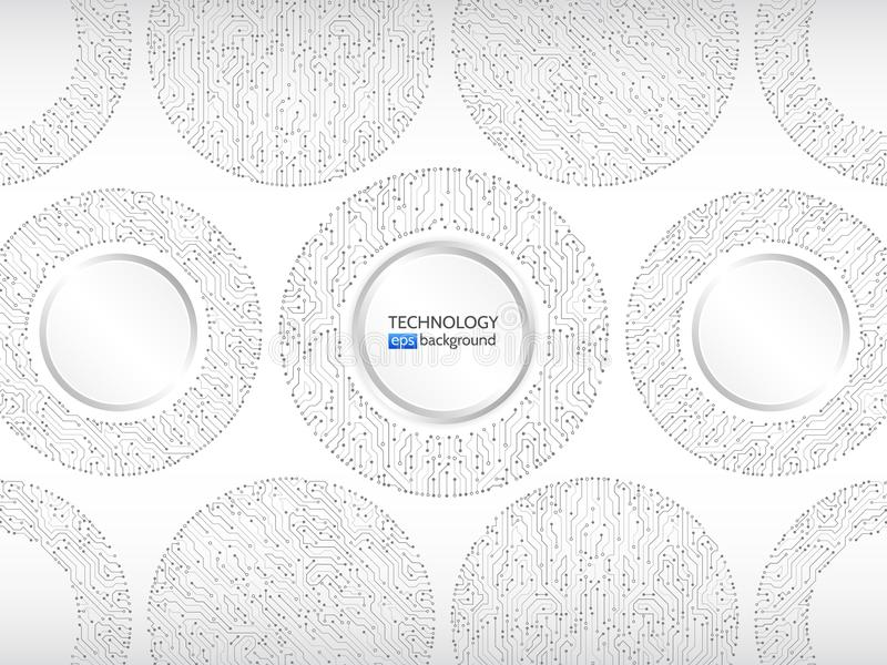 High-tech technology background texture. Circle circuit board vector illustration. royalty free illustration
