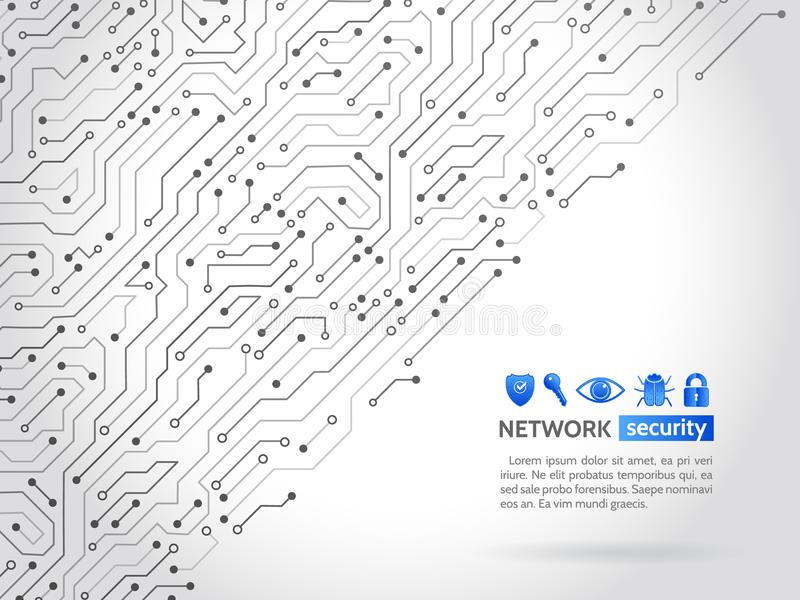 High-tech technology background texture. Network security icons. High-tech technology background texture. Circuit board vector illustration. Network security stock illustration