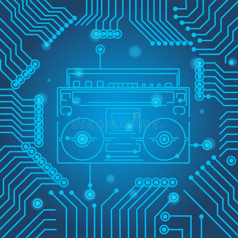 High-tech technology blue background texture. Circuit board minimal pattern cassette player. Science vector illustration royalty free illustration