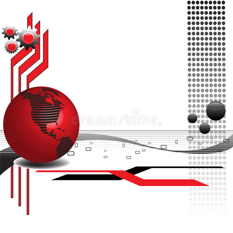 High tech theme. Abstract colorful illustration with red sphere, black dots, gears and various shapes. High tech theme stock illustration