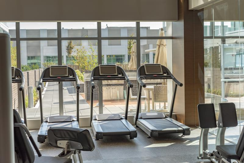 Treadmill at fitness club royalty free stock images