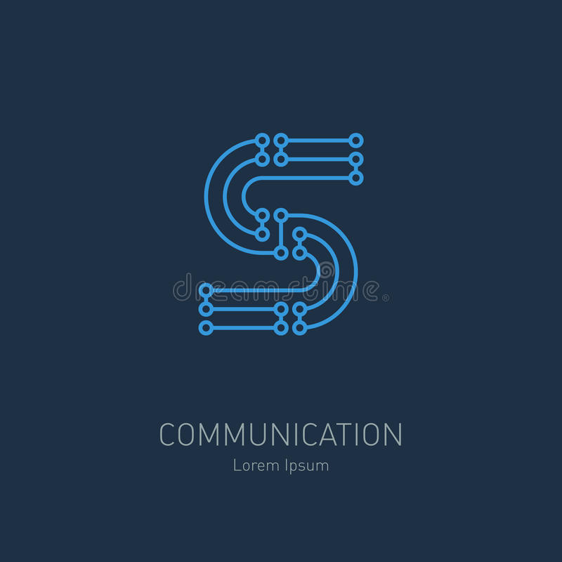High-tech vector logo template. Abstract symbol of letter s. royalty free illustration