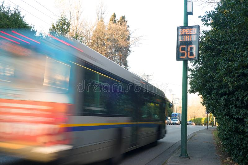 High tech warning speed sign bus. The image of high tech warning speed sign stock photo