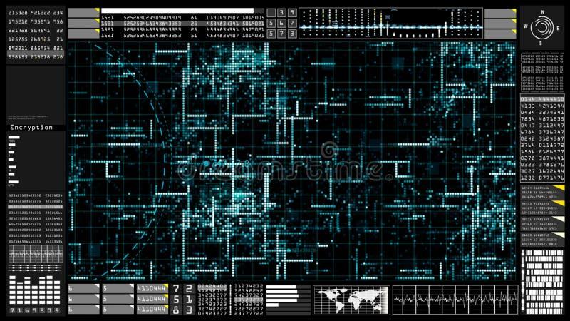 High-Teche Digitaltechnikkommunikation und -verbindung mit futuristischem Benutzerschnittstellenkopf herauf Anzeige Erdelement ve lizenzfreie abbildung