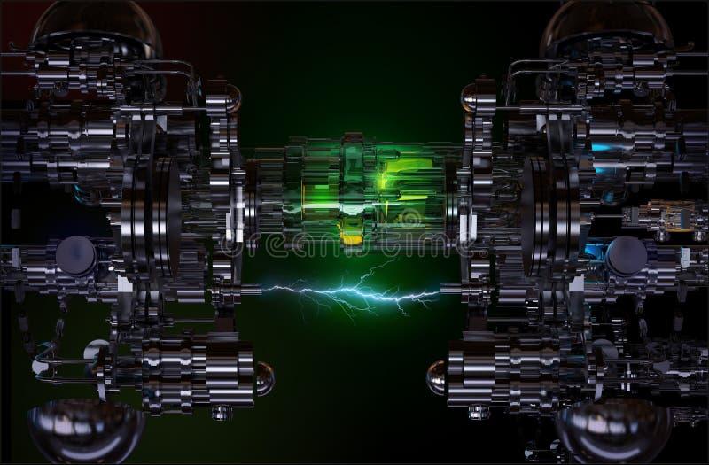 High-Teche Installation des Technologiekonzeptes Abbildung 3D lizenzfreies stockbild