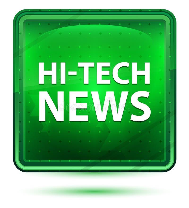 High-Teche Nachrichten-hellgrüner quadratischer Neonknopf vektor abbildung