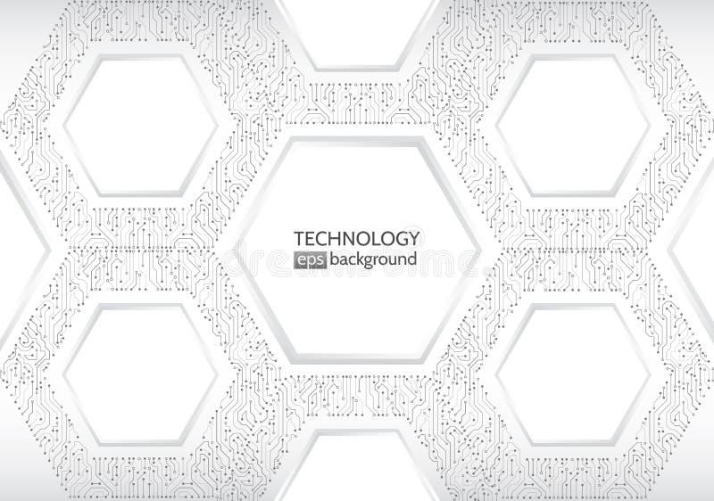 High-Teche Technologiehintergrundbeschaffenheit HexagonLeiterplatte V vektor abbildung