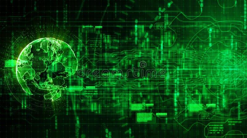 High-Techer digitaler abstrakter Hintergrund mit Technologie Gang und Ohr stock abbildung