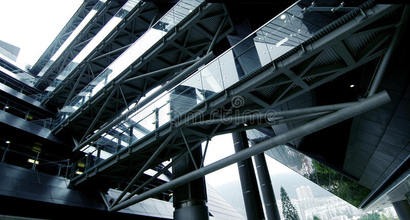 High Technology. High Tech Offices and Bridge Walkways stock photo