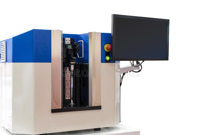 High technology automatic measuring machine for multi inspection dimension shape bending appearance etc of shaft or various. Precision part and monitoring royalty free stock photos