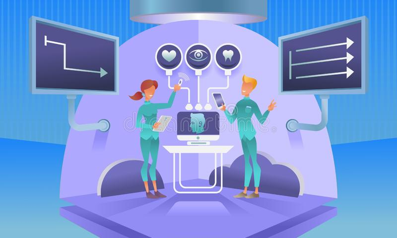 High technology doctor. Information technology medicine, IT physician at work, female and male character. High technology doctor. Tablets and computers, manage vector illustration