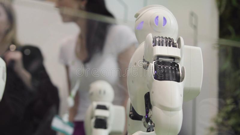 High Technology Future and Science Concept. Smart Humanoid Robots Dancing. Dancing robots. Future technology concept.  royalty free stock photo