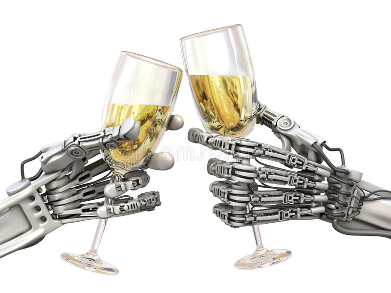 High Technology holiday. Two robots with wineglasses. High Technology New Year or Christmas. Two robots keeps wineglasses royalty free illustration