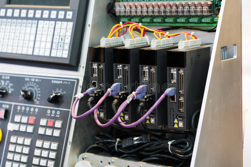 High technology Industrial Machine control by PLC programing log. Ical control for manufacturing, The PLC Computer,PLC programable logic controler royalty free stock photos
