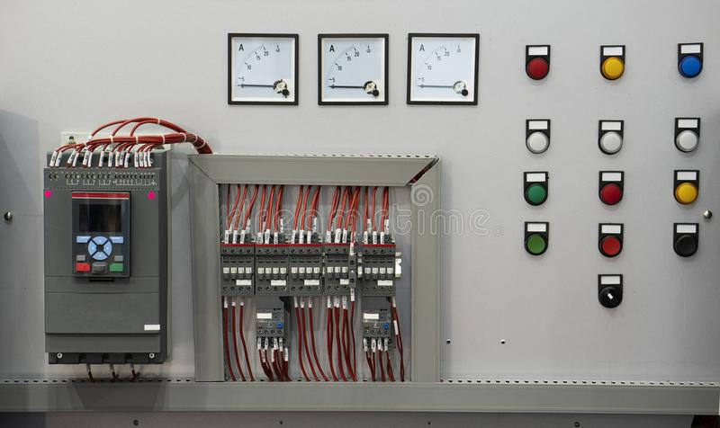 High technology Industrial Machine control by PLC programing log. Ical control for manufacturing, The PLC Computer,PLC programable logic controler royalty free stock photo