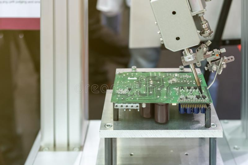 High technology and modern automatic robot for pcb print circuit board assembly machine during soldering or welding part or. Component stock photography