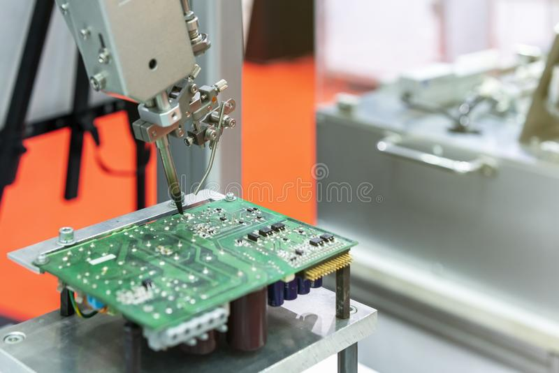 High technology and modern automatic robot for pcb print circuit board assembly machine during soldering or welding part or. Component stock images