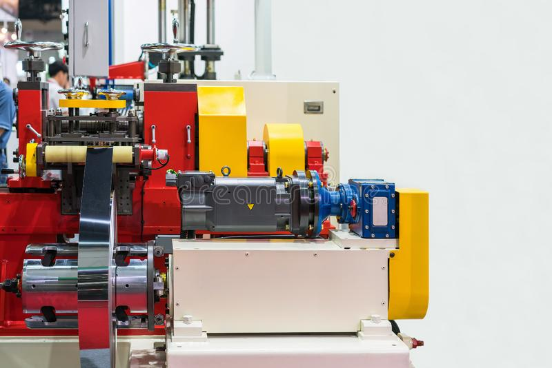 High technology and precision automatic press or forming machine of roll metal sheet for industrial work with copy space.  royalty free stock photo