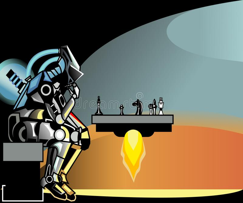 High technology. robot plays chess royalty free illustration